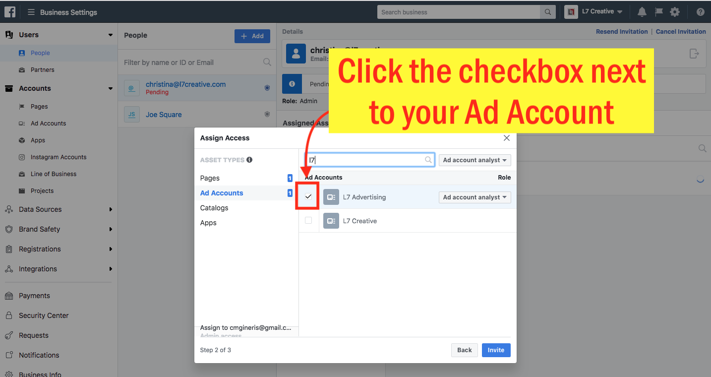 Add an Admin to Your Facebook Ad Account - Step 9 Screenshot